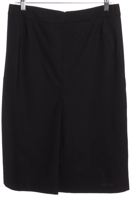 THEORY Black Pleated Wool Straight Skirt