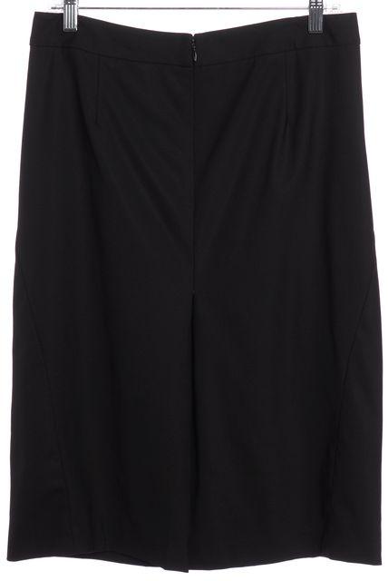 THEORY Black Pleated Wool Straight Skirt