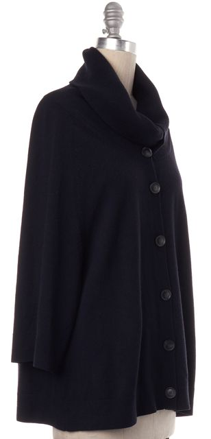 THEORY Navy Blue Wool Knit Button Down Sweater