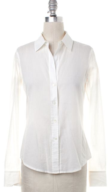 THEORY White Stripe Textured Button Down Shirt