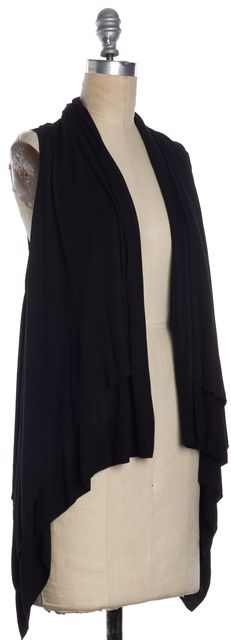 THEORY Black Asymmetrical Open Closure Cardigan Top