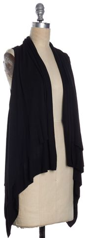 THEORY Black Asymmetrical Open Closure Cardigan Top