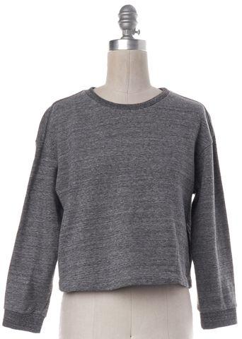 THEORY Gray Cropped Sweatshirt Top
