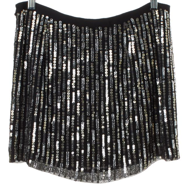 THEORY Black Silver Sequin Embellished Silk Mini Skirt
