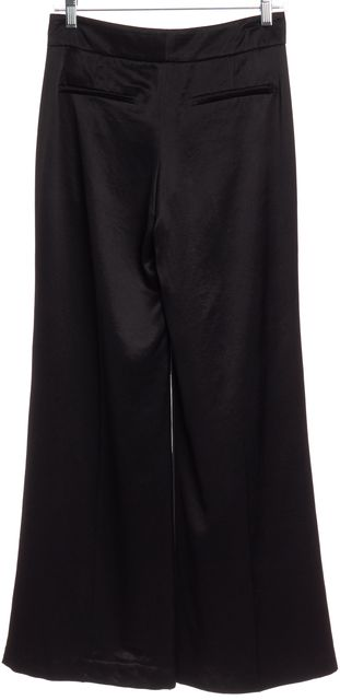 THEORY Black Wide Leg Pleated Trousers Pants