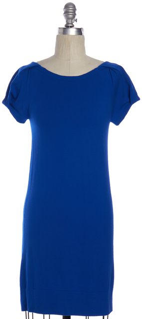 THEORY Cobalt Blue Wool Short Sleeve Low Back Sweater Mini Dress
