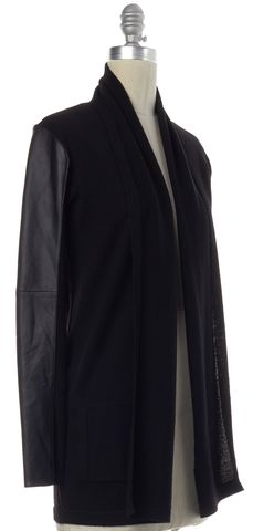 THEORY Black Wool Knit Lambskin Sleeve Ashtry M Open Cardigan