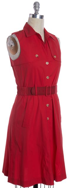 THEORY Red Button Down Shirt Dress