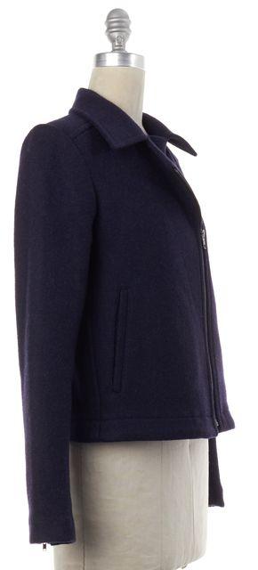 THEORY Navy Blue Wool Zip Up Moto Jacket Coat