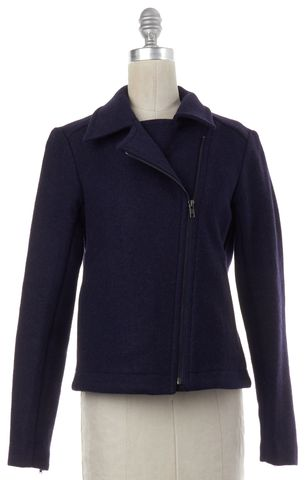 THEORY Navy Blue Wool Zip Up Moto Jacket Coat