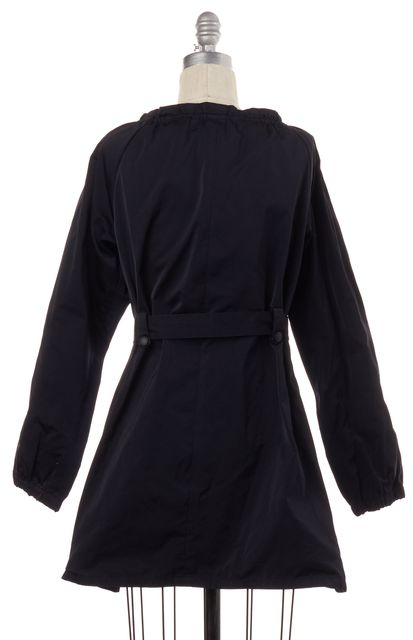 THEORY Navy Blue Silver Zip Up Belted Jacket