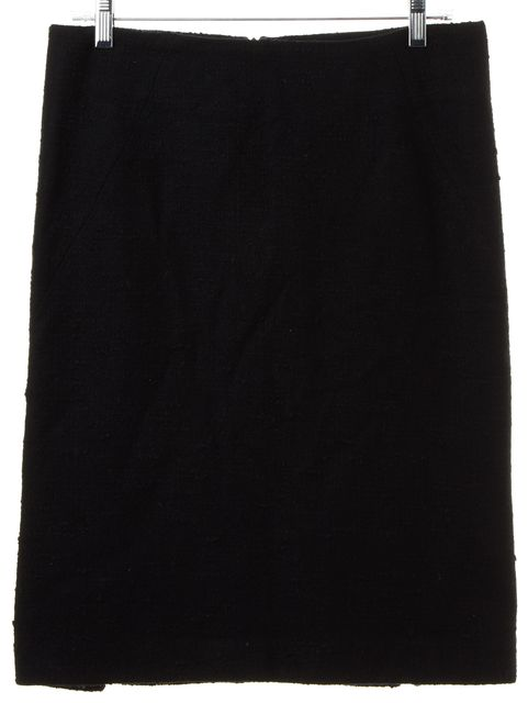 THEORY Black Boucle Wool Straight Skirt