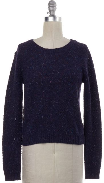 THEORY Blue Speckled Wool Knit Sweater