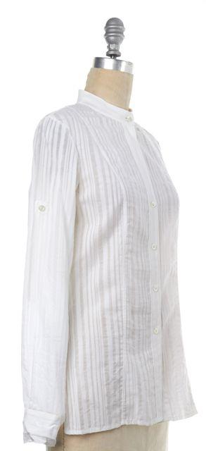 THEORY White Striped Button Down Shirt