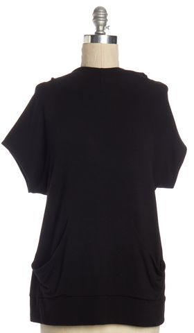 THEORY Black Short Sleeve Hooded Sweatshirt Top
