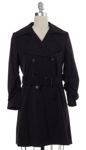 THEORY Black Double Breasted Wide Lapel Belted Trench Coat