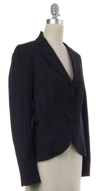 THEORY Black White Pinstriped Blazer Jacket