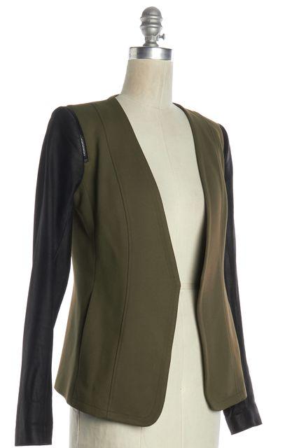 THEORY Olive Green Black Leather Sleeve Jacket