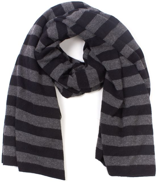 THEORY Gray Black Striped 100% Cashmere Clover S Royal Shawl Wrap Scarf