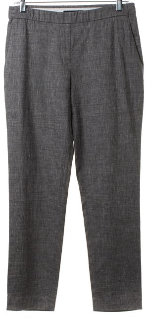 THEORY Gray Textured Linen Casual Pants