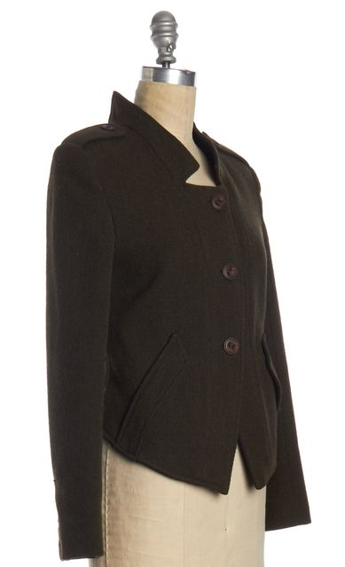 THEORY Olive Green Ribbed Wool Jacket