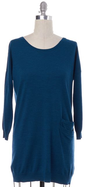 THEORY Teal Blue Wool Knit Boat Neck Sweater
