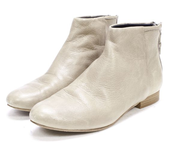 THEORY Gray Leather Ankle Boots