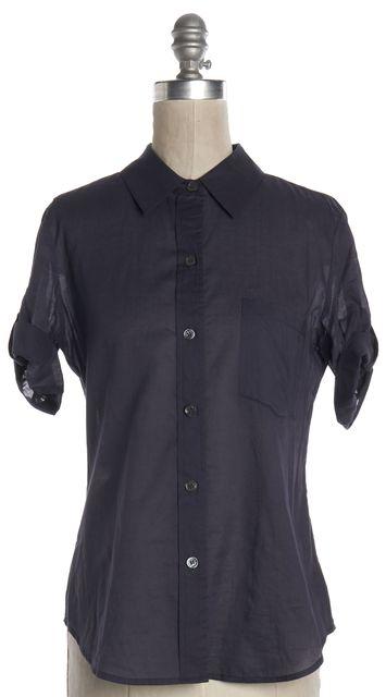 THEORY Navy Blue Cotton Button Down Shirt
