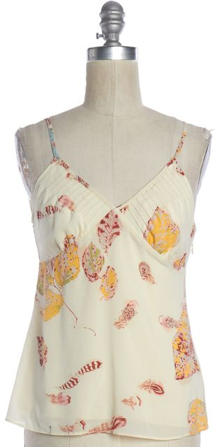 THEORY Ivory Floral Leaf Printed Silk Tank Top