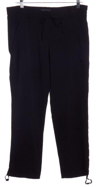 THEORY Black Silk Drawstring Cropped Casual Pants