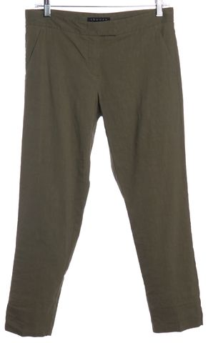 THEORY Green Linen Cropped Slim Casual Pants