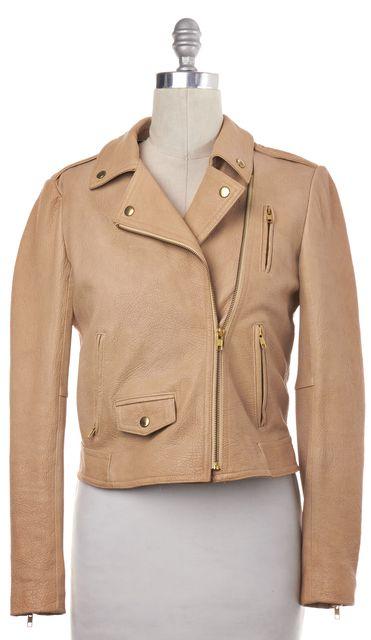 THEORY Beige Lamb Leather Zip Up Moto Jacket