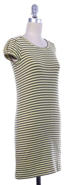 THEORY Yellow Gray Striped Short Sleeve Shift Dress