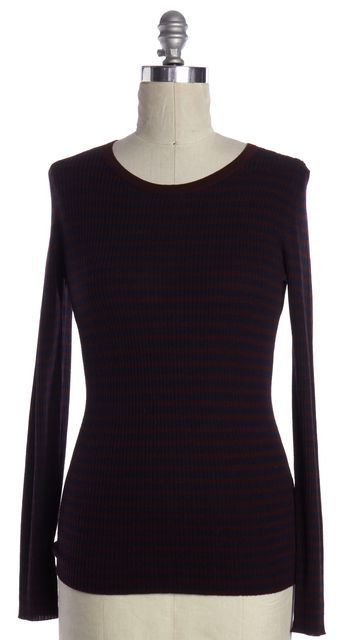 THEORY Burgundy Navy Striped Wool Knit Top