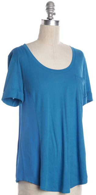 THEORY Blue Cotton Silk Combo T-Shirt