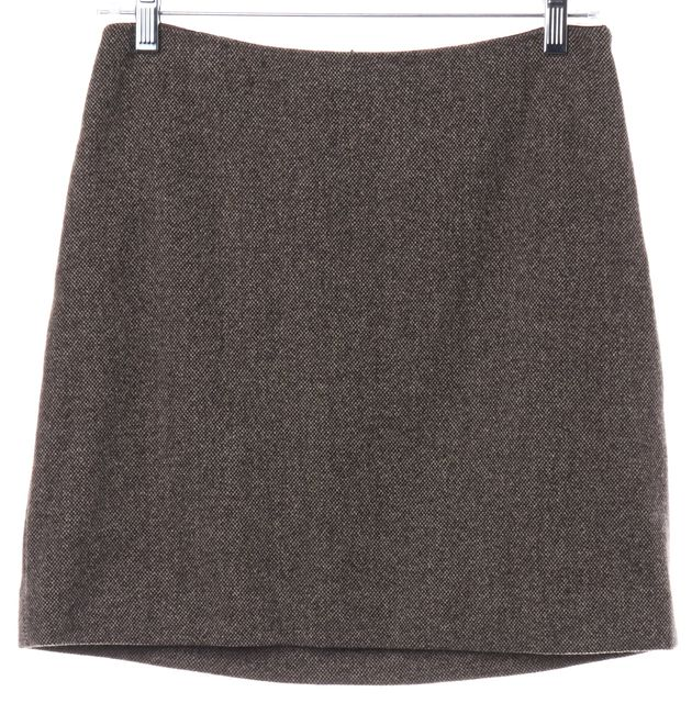 THEORY Brown Ivory Wool Knit Pencil Skirt