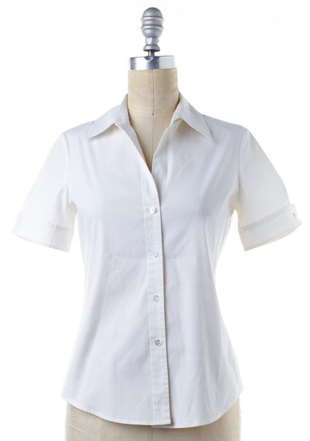 THEORY White Short Sleeve Cotton Button Down Shirt