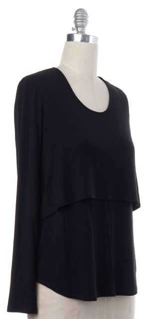THEORY Black Long Sleeve Layered Basic Tee Top