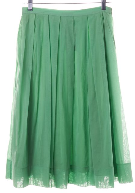 THEORY Green Pleated Skirt