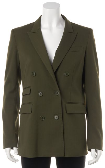 THEORY Olive Green Casual Double Breasted Classic Blazer Jacket