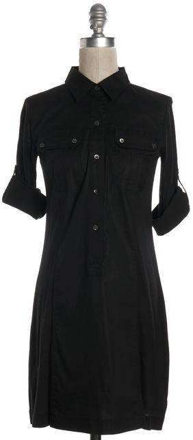 THEORY Black Cotton Long Sleeve Shirt Dress