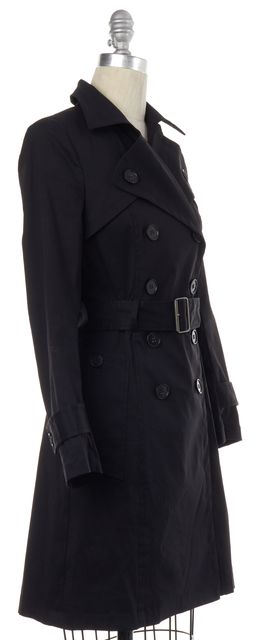 THEORY Black Double Breasted Belted Trench Jacket