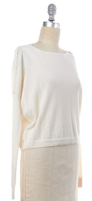 THEORY Ivory Janey Braided Long Sleeve Knit Top