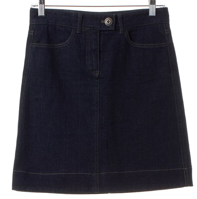 THEORY Blue Denim Straight Skirt