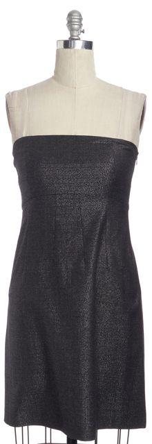 THEORY Metallic Gray Wool Shift Strapless Dress