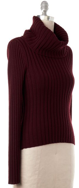THEORY Burgundy Red Ribbed Wool Turtleneck Sweater