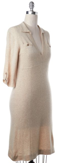 THEORY Beige Cashmere 3/4 Sleeve Sweater Dress