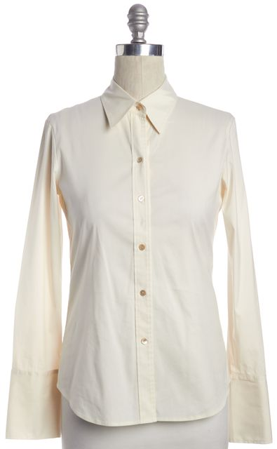 THEORY Ivory Button Down Long Sleeve Shirt Top