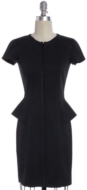THEORY Black Scuba Neoprene Mesh Short Sleeve Knee Length Peplum Dress