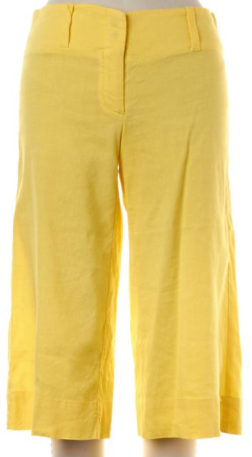 THEORY Yellow Linen Bermuda Shorts